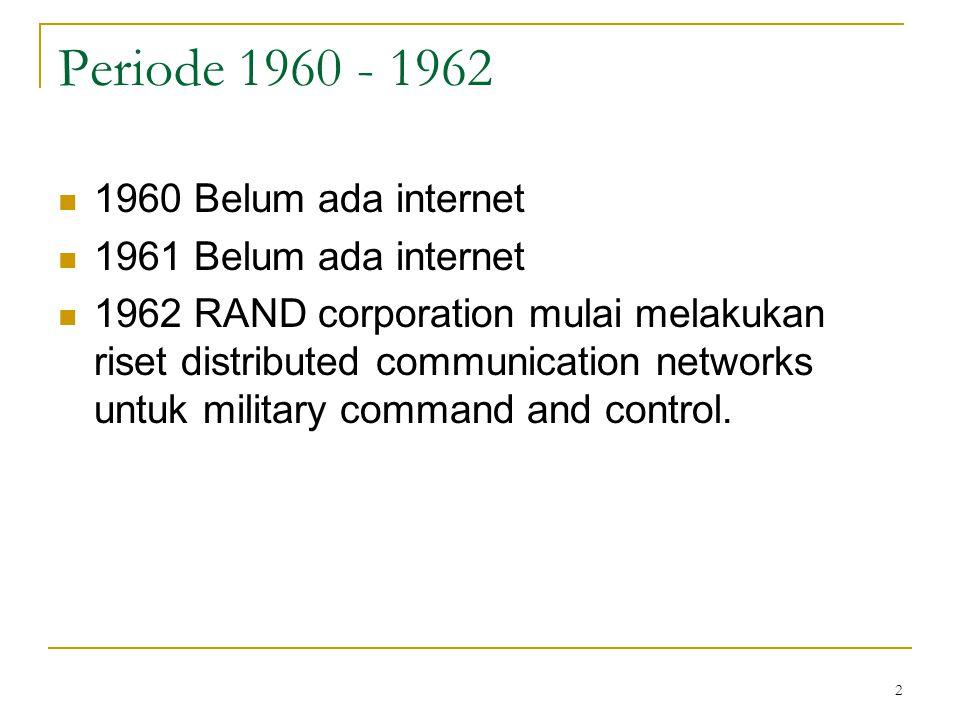 2 Periode 1960 - 1962 1960 Belum ada internet 1961 Belum ada internet 1962 RAND corporation mulai melakukan riset distributed communication networks u