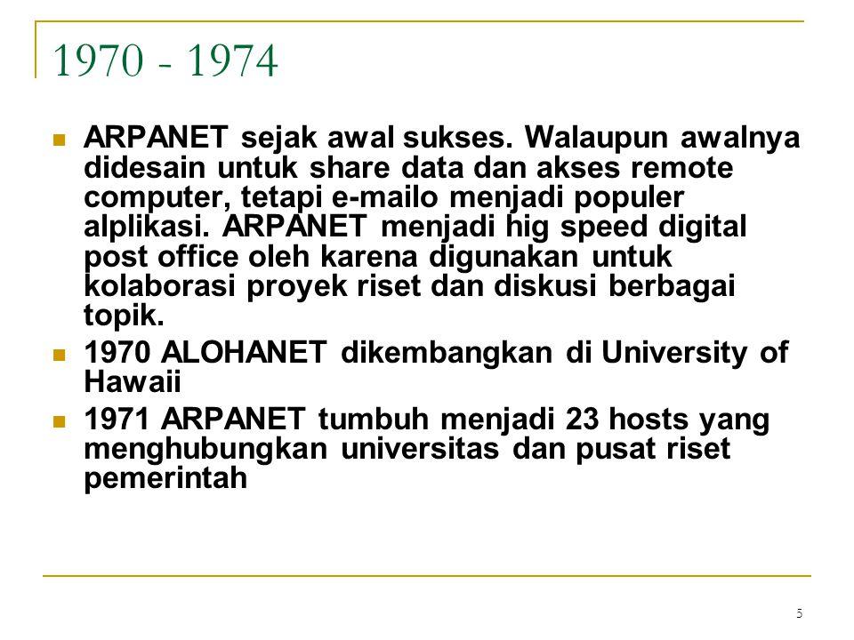 5 1970 - 1974 ARPANET sejak awal sukses. Walaupun awalnya didesain untuk share data dan akses remote computer, tetapi e-mailo menjadi populer alplikas