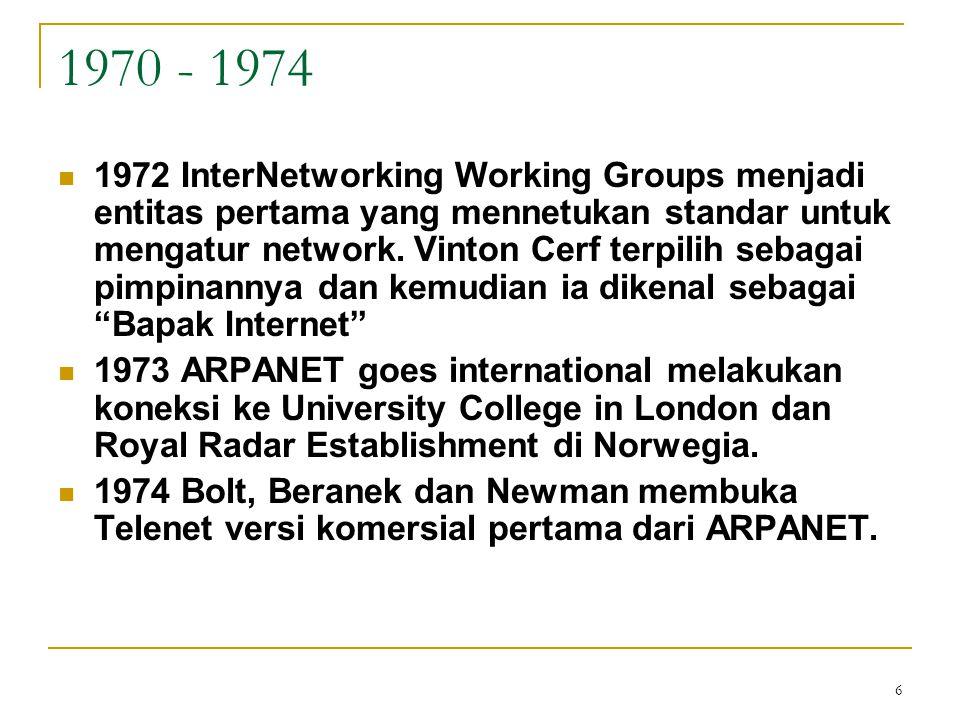 6 1970 - 1974 1972 InterNetworking Working Groups menjadi entitas pertama yang mennetukan standar untuk mengatur network. Vinton Cerf terpilih sebagai