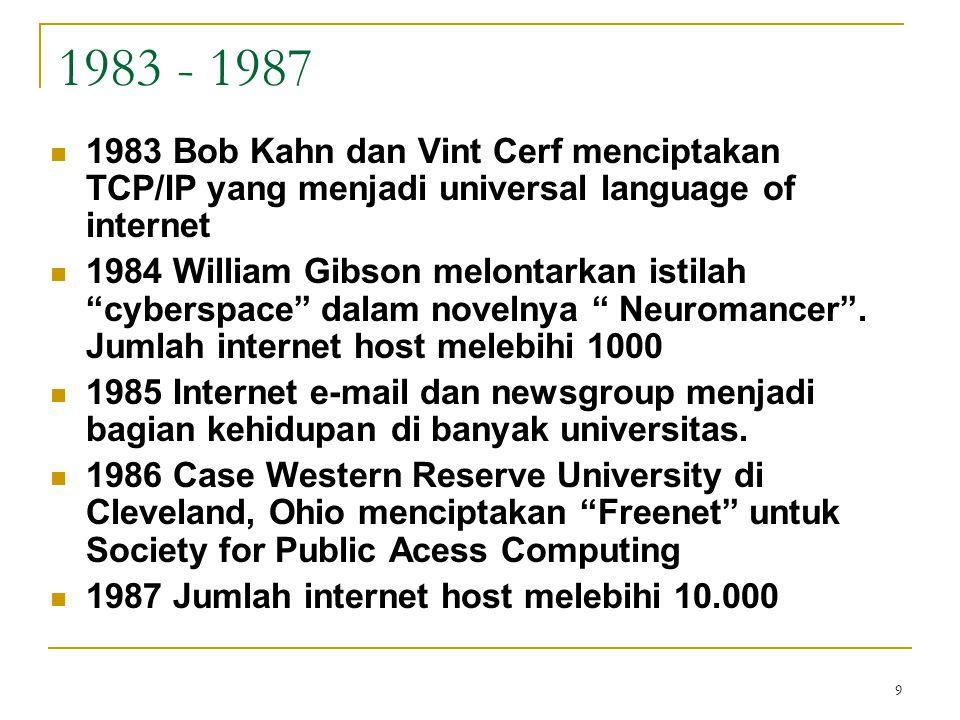 10 1988 - 1991 1988 internet menjadi alat komunikasi yang esensial, tetapi juga menciptakan masalah berkaitan dengan privacy dan security.