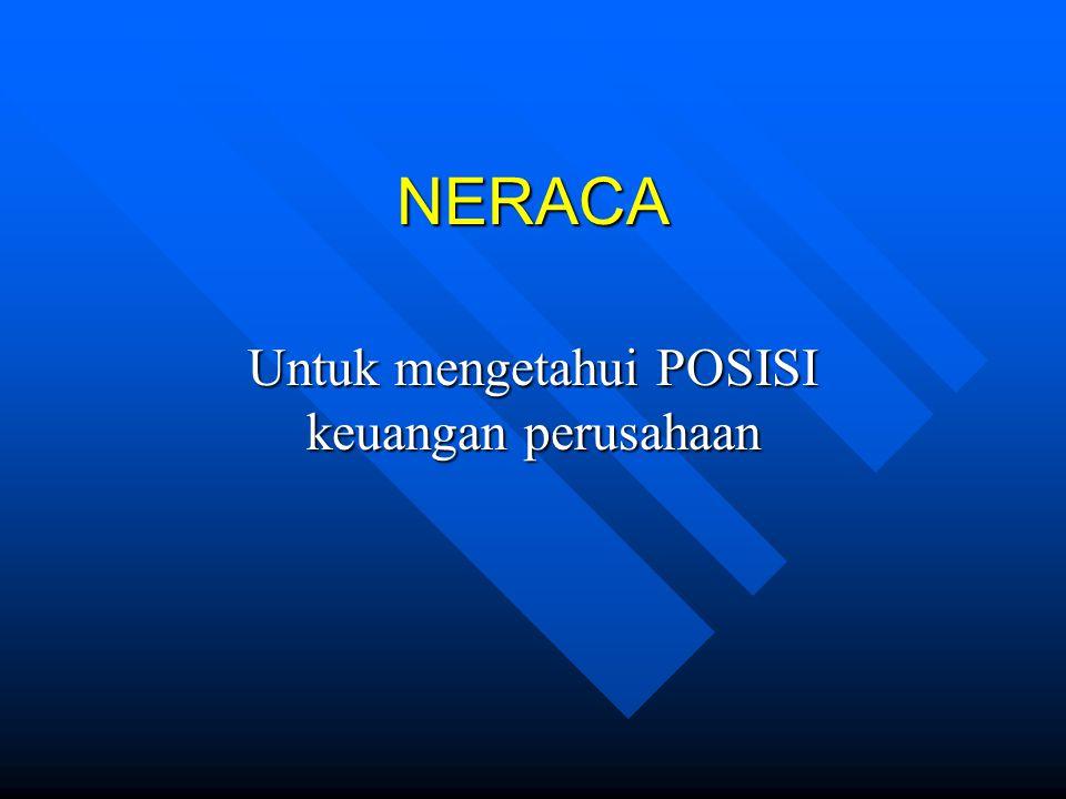 NERACA Untuk mengetahui POSISI keuangan perusahaan