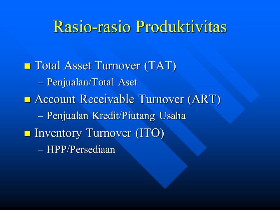 Rasio-rasio Produktivitas n Total Asset Turnover (TAT) –Penjualan/Total Aset n Account Receivable Turnover (ART) –Penjualan Kredit/Piutang Usaha n Inventory Turnover (ITO) –HPP/Persediaan