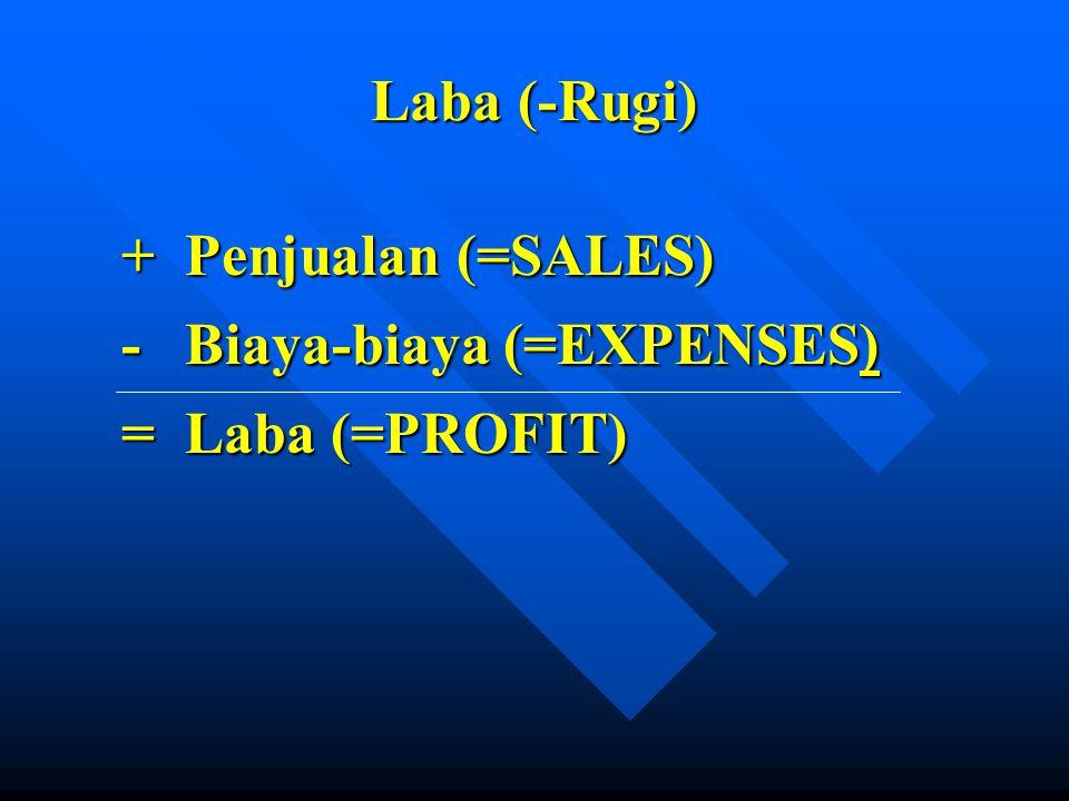 Laba (-Rugi) + Penjualan (=SALES) + Penjualan (=SALES) - Biaya-biaya (=EXPENSES) - Biaya-biaya (=EXPENSES) = Laba (=PROFIT) = Laba (=PROFIT)