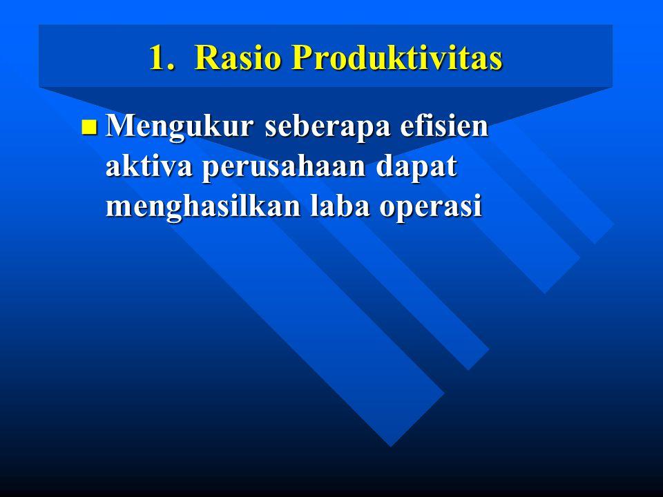 1. Rasio Produktivitas n Mengukur seberapa efisien aktiva perusahaan dapat menghasilkan laba operasi