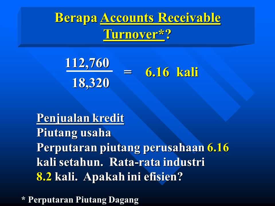 Berapa Accounts Receivable Turnover*.