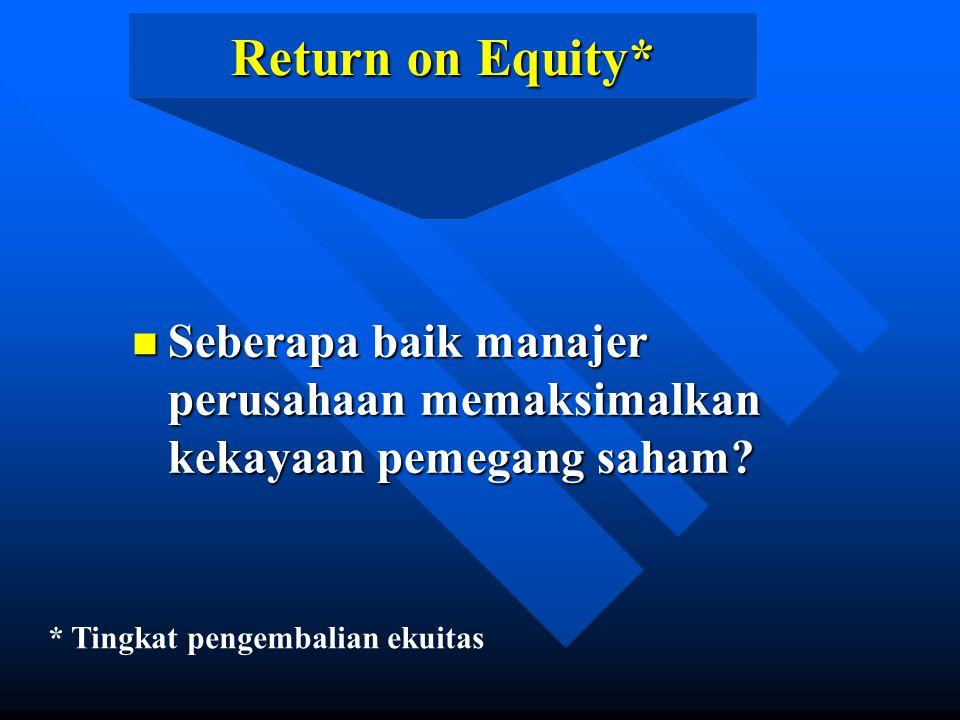 Return on Equity* n Seberapa baik manajer perusahaan memaksimalkan kekayaan pemegang saham.