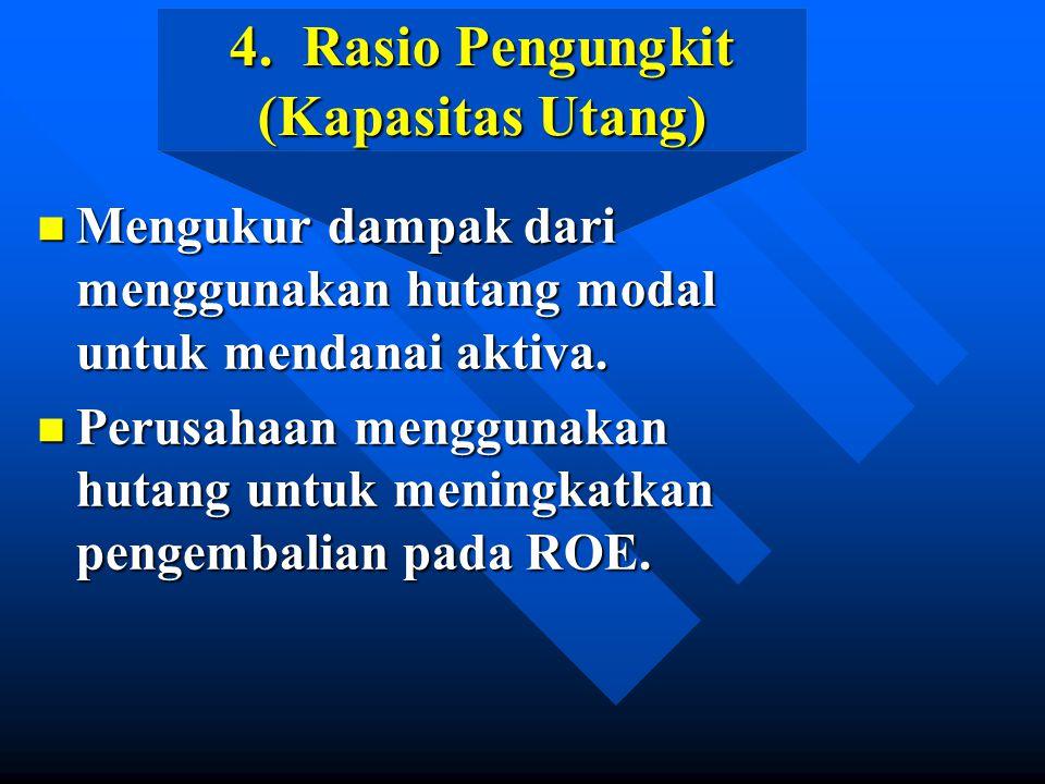 4. Rasio Pengungkit (Kapasitas Utang) n Mengukur dampak dari menggunakan hutang modal untuk mendanai aktiva. n Perusahaan menggunakan hutang untuk men