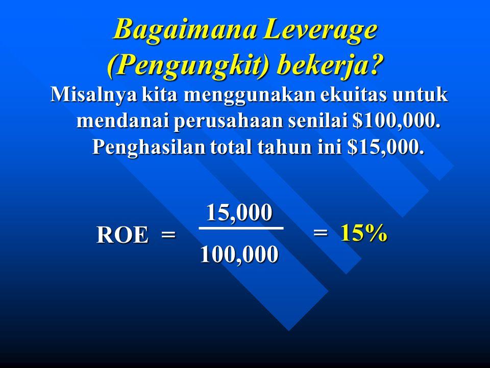 Misalnya kita menggunakan ekuitas untuk mendanai perusahaan senilai $100,000.