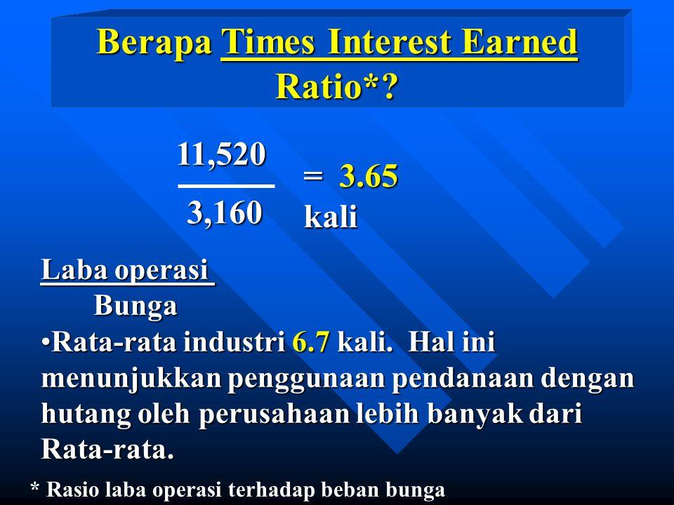 11,5203,160 = 3.65 kali Laba operasi Bunga Bunga Rata-rata industri 6.7 kali.