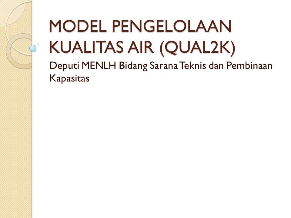 MODEL PENGELOLAAN KUALITAS AIR (QUAL2K) Deputi MENLH Bidang Sarana Teknis dan Pembinaan Kapasitas