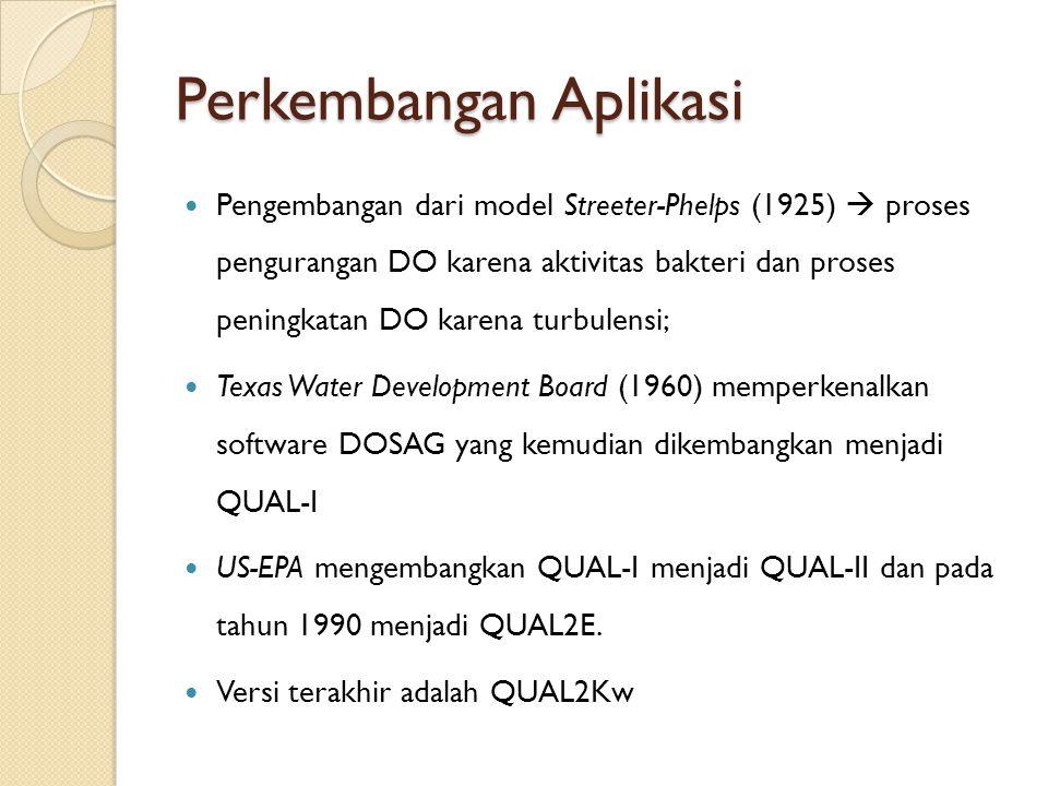 Perkembangan Aplikasi Pengembangan dari model Streeter-Phelps (1925)  proses pengurangan DO karena aktivitas bakteri dan proses peningkatan DO karena