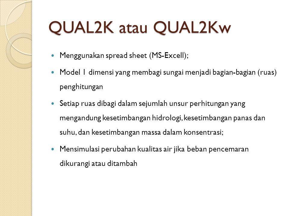 QUAL2K atau QUAL2Kw Menggunakan spread sheet (MS-Excell); Model 1 dimensi yang membagi sungai menjadi bagian-bagian (ruas) penghitungan Setiap ruas di