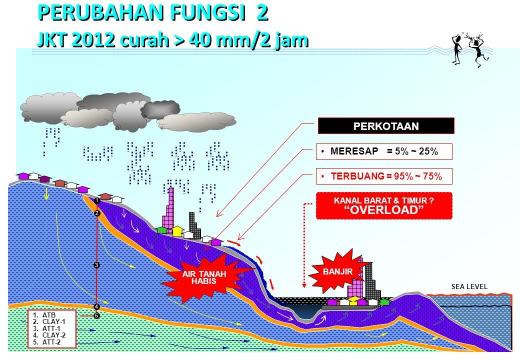 SEA LEVEL MERESAP = 5% ~ 25% TERBUANG = 95% ~ 75% PERKOTAAN 1 1.ATB 2.CLAY-1 3.ATT-1 4.CLAY-2 5.ATT-2 2 3 4 5 KANAL BARAT & TIMUR .