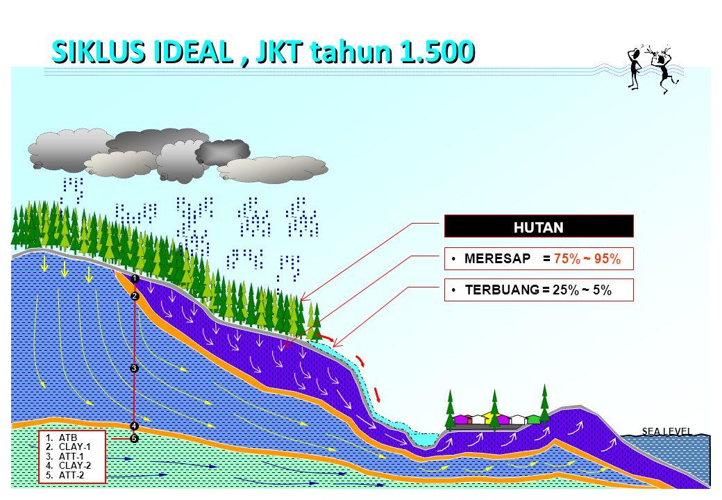 SEA LEVEL MERESAP = 75% ~ 95% TERBUANG = 25% ~ 5% HUTAN 1 1.ATB 2.CLAY-1 3.ATT-1 4.CLAY-2 5.ATT-2 2 3 4 5 SIKLUS IDEAL, JKT tahun 1.500