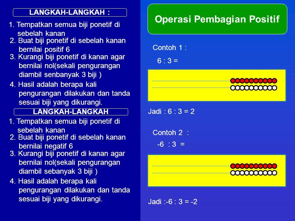 LANGKAH-LANGKAH : Operasi Pembagian Positif 1. Tempatkan semua biji ponetif di sebelah kanan Contoh 1 : 6 : 3 = 2. Buat biji ponetif di sebelah kanan