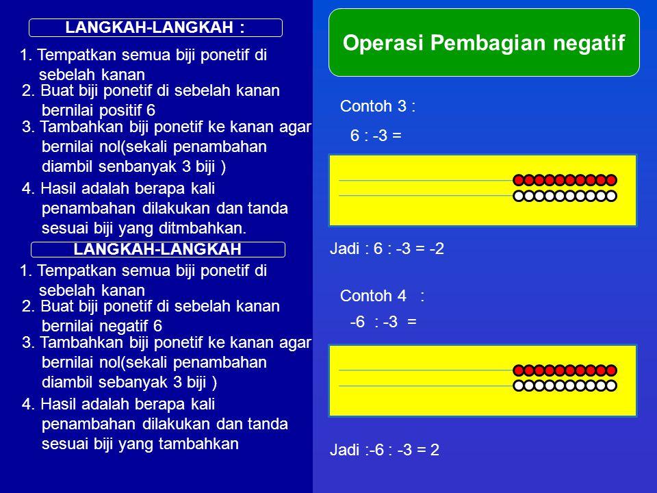 LANGKAH-LANGKAH : Operasi Pembagian negatif 1. Tempatkan semua biji ponetif di sebelah kanan Contoh 3 : 6 : -3 = 2. Buat biji ponetif di sebelah kanan