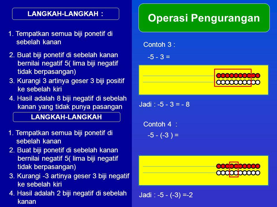 LANGKAH-LANGKAH : Operasi Pengurangan 1. Tempatkan semua biji ponetif di sebelah kanan Contoh 3 : -5 - 3 = 2. Buat biji ponetif di sebelah kanan berni