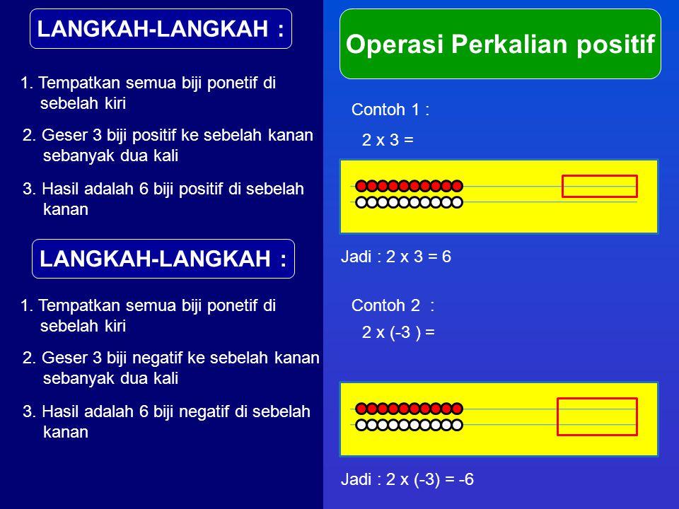 LANGKAH-LANGKAH : Operasi Perkalian positif 1. Tempatkan semua biji ponetif di sebelah kiri Contoh 1 : 2 x 3 = 2. Geser 3 biji positif ke sebelah kana