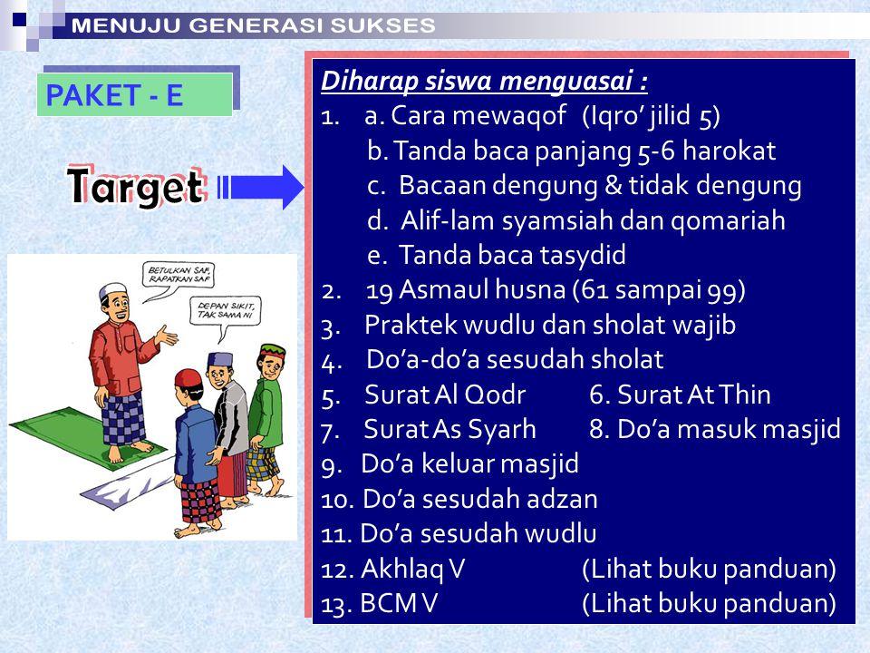 PAKET - D Diharap siswa menguasai : 1. a. Tanda baca Tanwin (Iqro' jilid 4) b. Nun dan mim sukun c. Bacaan qolqolah d. Perbedaan hamzah, sin, kaf & qo