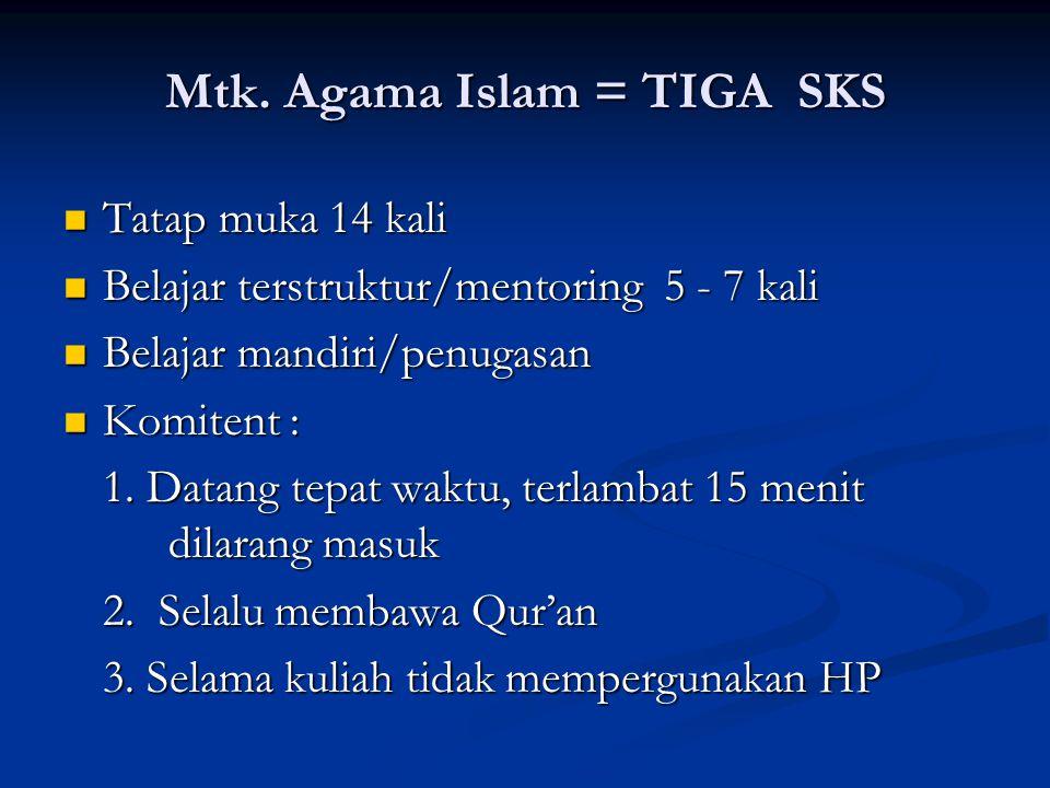 Mtk. Agama Islam = TIGA SKS Tatap muka 14 kali Tatap muka 14 kali Belajar terstruktur/mentoring 5 - 7 kali Belajar terstruktur/mentoring 5 - 7 kali Be