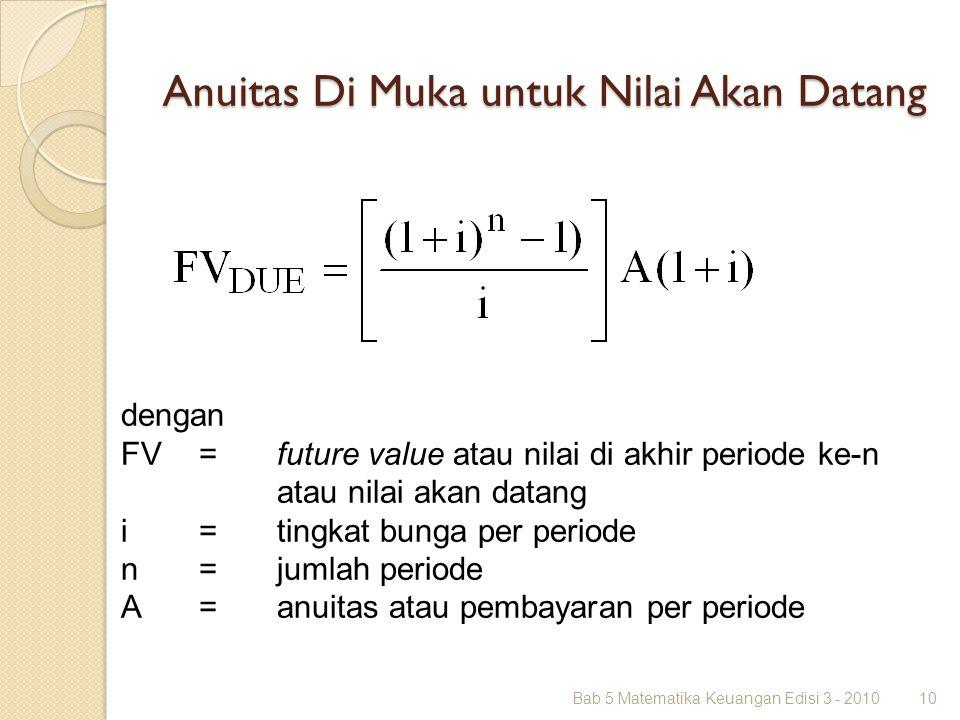 Anuitas Di Muka untuk Nilai Akan Datang Bab 5 Matematika Keuangan Edisi 3 - 201010 dengan FV =future value atau nilai di akhir periode ke-n atau nilai