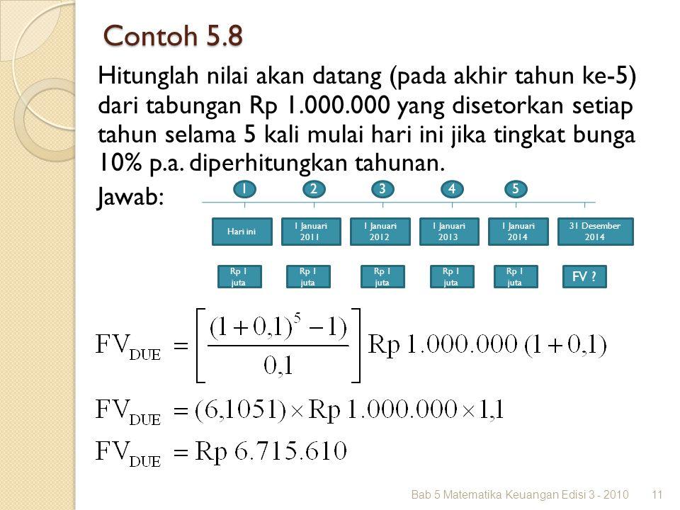 Contoh 5.8 Bab 5 Matematika Keuangan Edisi 3 - 201011 Hitunglah nilai akan datang (pada akhir tahun ke-5) dari tabungan Rp 1.000.000 yang disetorkan s