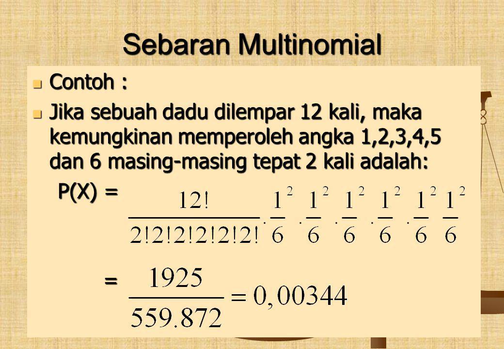 Sebaran Multinomial Contoh : Contoh : Jika sebuah dadu dilempar 12 kali, maka kemungkinan memperoleh angka 1,2,3,4,5 dan 6 masing-masing tepat 2 kali adalah: Jika sebuah dadu dilempar 12 kali, maka kemungkinan memperoleh angka 1,2,3,4,5 dan 6 masing-masing tepat 2 kali adalah: P(X) = P(X) = =