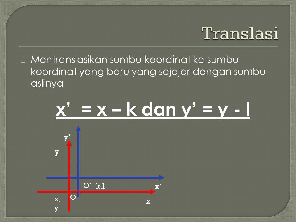  Mentranslasikan sumbu koordinat ke sumbu koordinat yang baru yang sejajar dengan sumbu aslinya x' = x – k dan y' = y - l y' x' O' k,l y x O x, y