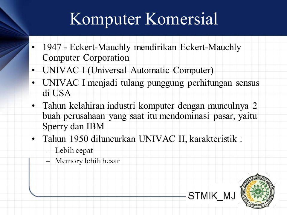 Komputer Komersial 1947 - Eckert-Mauchly mendirikan Eckert-Mauchly Computer Corporation UNIVAC I (Universal Automatic Computer) UNIVAC I menjadi tulan