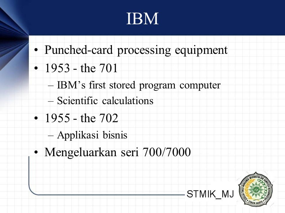 IBM Punched-card processing equipment 1953 - the 701 –IBM's first stored program computer –Scientific calculations 1955 - the 702 –Applikasi bisnis Me