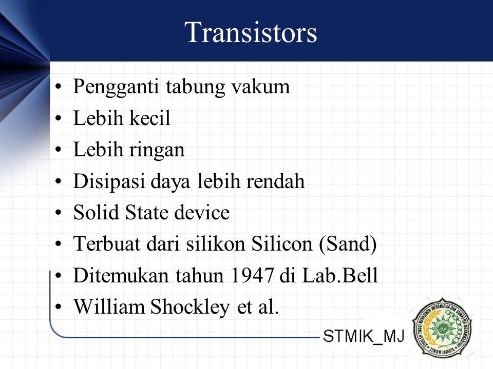Transistors Pengganti tabung vakum Lebih kecil Lebih ringan Disipasi daya lebih rendah Solid State device Terbuat dari silikon Silicon (Sand) Ditemuka