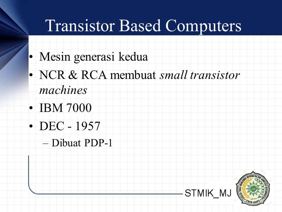 Transistor Based Computers Mesin generasi kedua NCR & RCA membuat small transistor machines IBM 7000 DEC - 1957 –Dibuat PDP-1