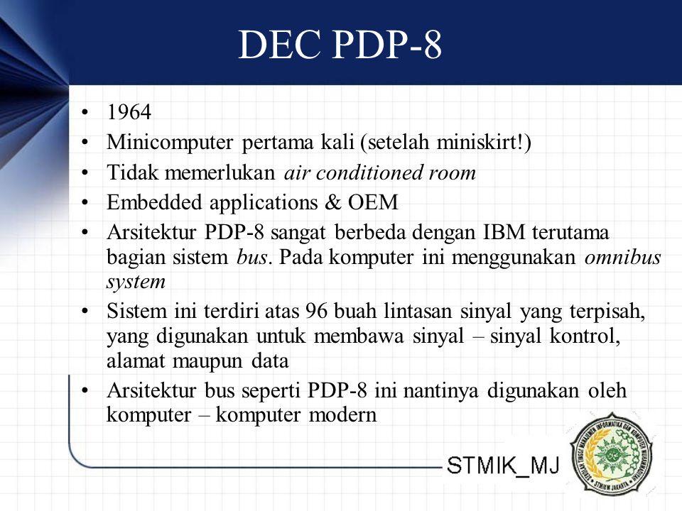 DEC PDP-8 1964 Minicomputer pertama kali (setelah miniskirt!) Tidak memerlukan air conditioned room Embedded applications & OEM Arsitektur PDP-8 sanga