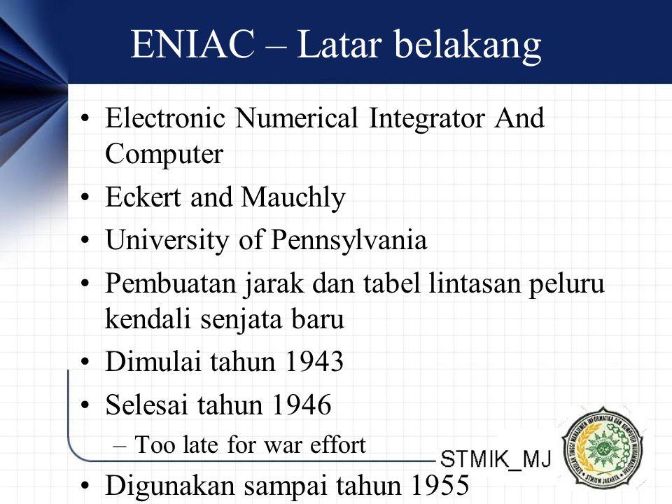 ENIAC – Latar belakang Electronic Numerical Integrator And Computer Eckert and Mauchly University of Pennsylvania Pembuatan jarak dan tabel lintasan p