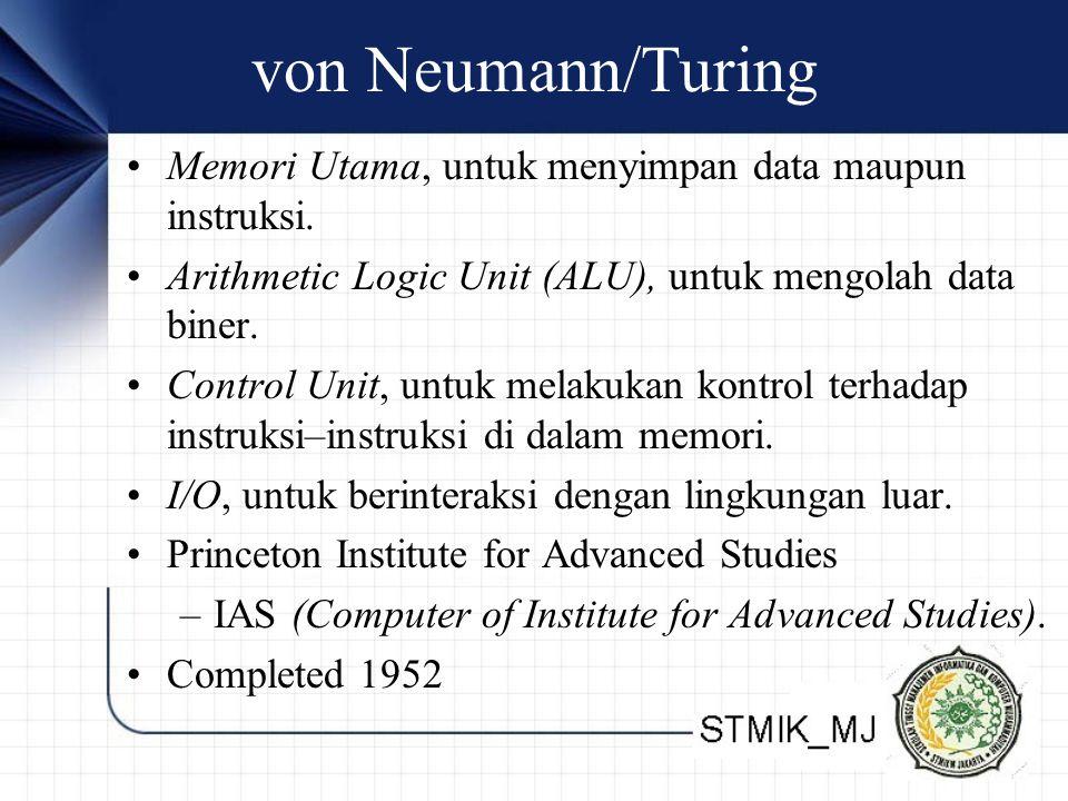 von Neumann/Turing Memori Utama, untuk menyimpan data maupun instruksi. Arithmetic Logic Unit (ALU), untuk mengolah data biner. Control Unit, untuk me