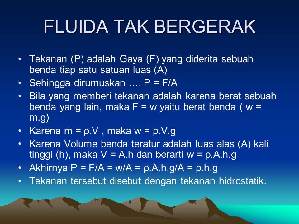 FLUIDA TAK BERGERAK P = F/A = w/A = ρ.A.h.g/A = ρ.h.g Keterangan : P = tekanan (N/m 2 ) ρ = massa jenis fluida (Kg/m 3 ) h = kedalaman titik yang dihitung tekanannya diukur dari permukaan fluida.