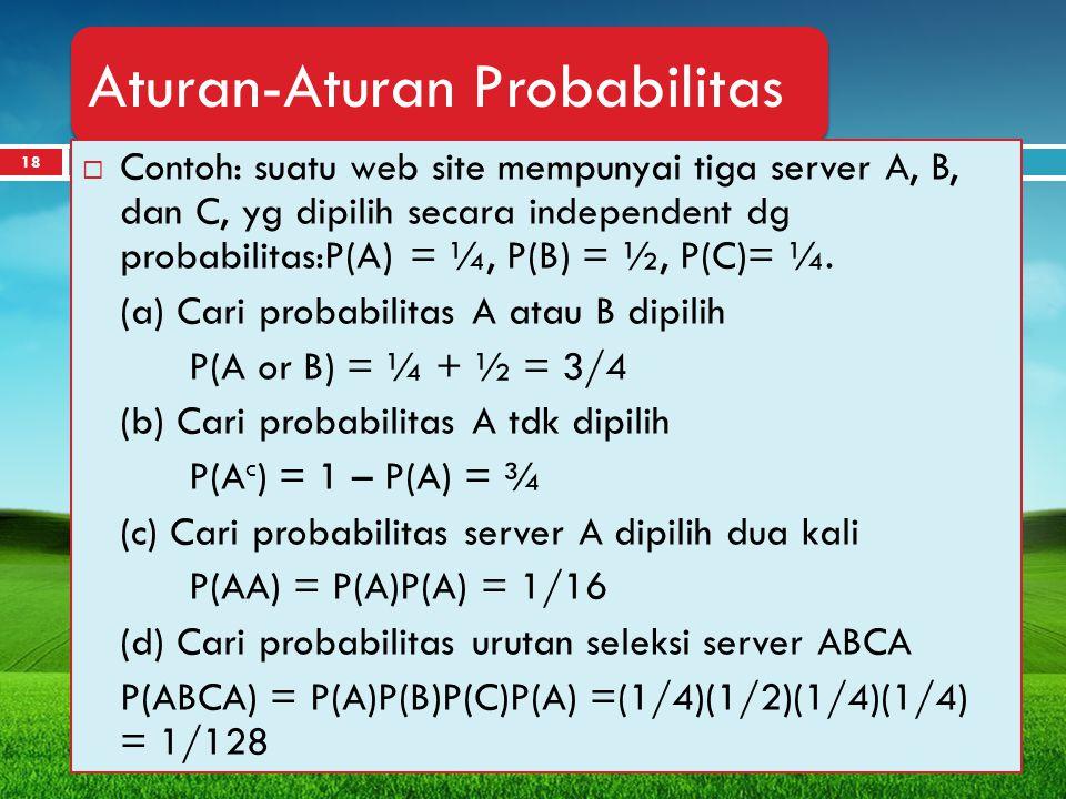 18 Aturan-Aturan Probabilitas  Contoh: suatu web site mempunyai tiga server A, B, dan C, yg dipilih secara independent dg probabilitas:P(A) = ¼, P(B)