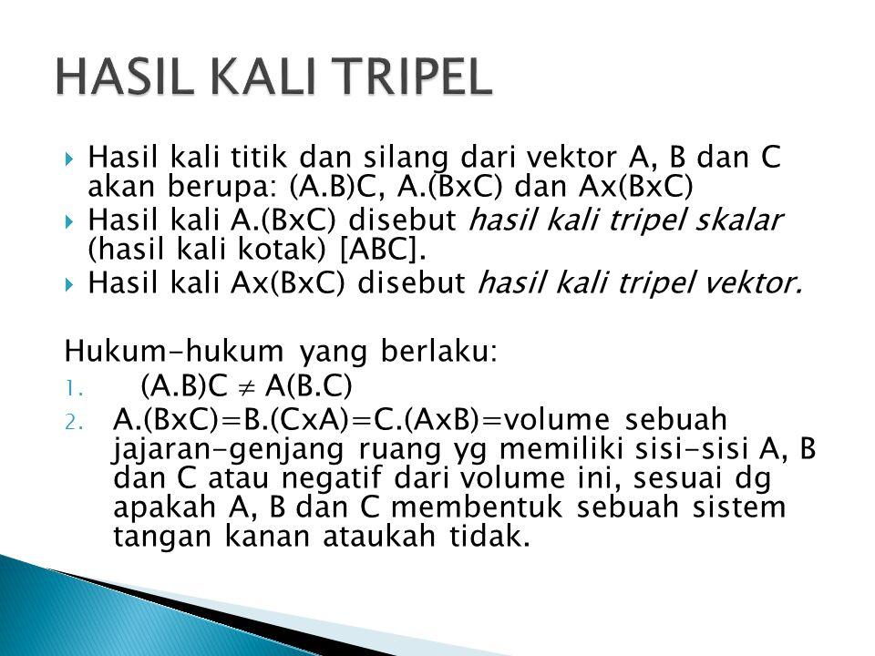  Hasil kali titik dan silang dari vektor A, B dan C akan berupa: (A.B)C, A.(BxC) dan Ax(BxC)  Hasil kali A.(BxC) disebut hasil kali tripel skalar (h