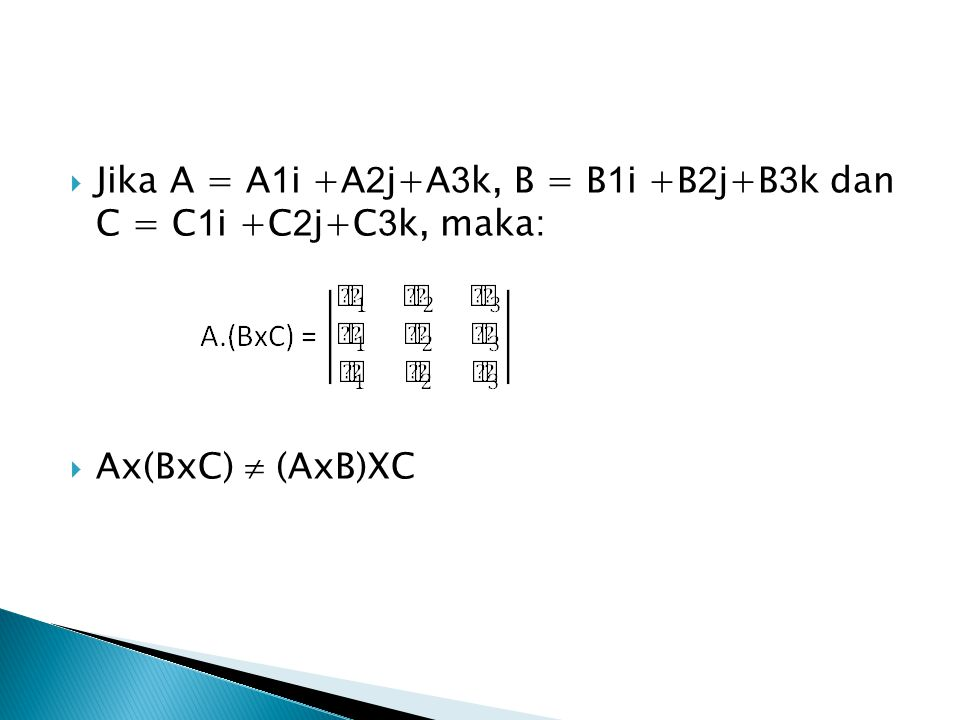  Jika A = A 1 i +A 2 j+A 3 k, B = B 1 i +B 2 j+B 3 k dan C = C 1 i +C 2 j+C 3 k, maka:  Ax(BxC)  (AxB)XC