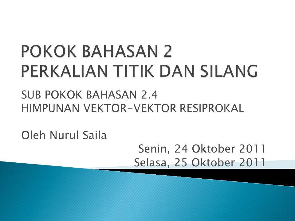 SUB POKOK BAHASAN 2.4 HIMPUNAN VEKTOR-VEKTOR RESIPROKAL Oleh Nurul Saila Senin, 24 Oktober 2011 Selasa, 25 Oktober 2011