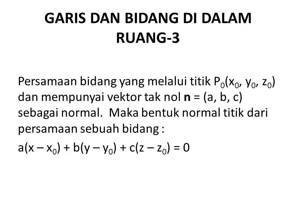 GARIS DAN BIDANG DI DALAM RUANG-3 Persamaan bidang yang melalui titik P 0 (x 0, y 0, z 0 ) dan mempunyai vektor tak nol n = (a, b, c) sebagai normal.