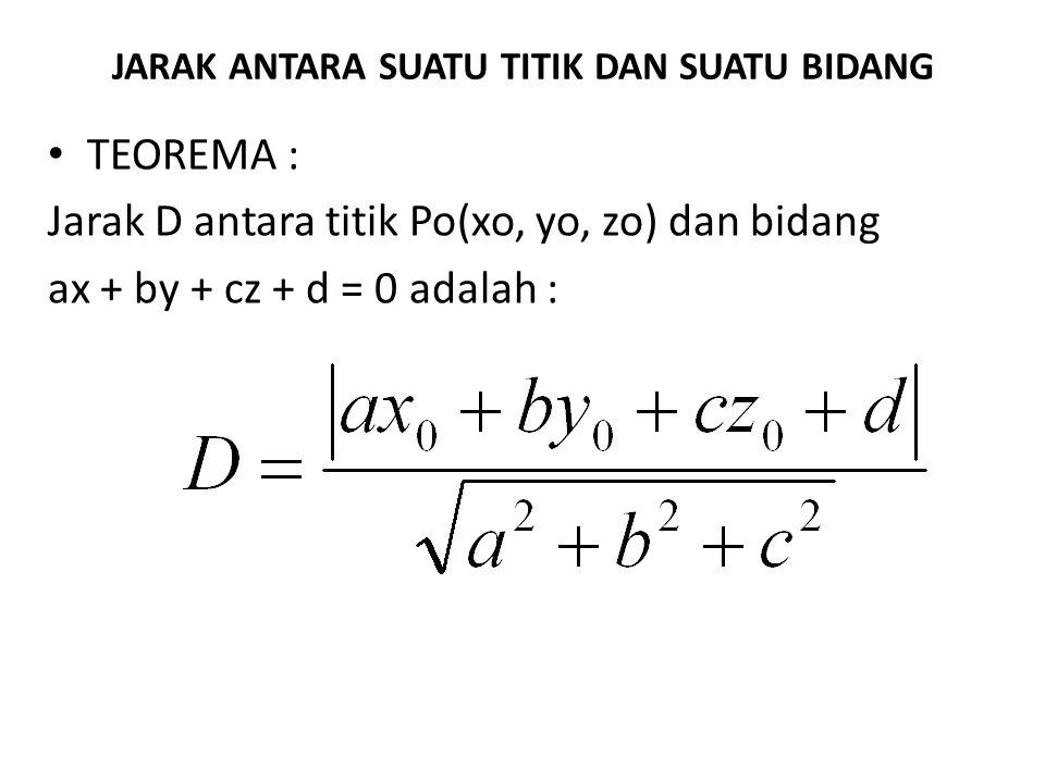 JARAK ANTARA SUATU TITIK DAN SUATU BIDANG TEOREMA : Jarak D antara titik Po(xo, yo, zo) dan bidang ax + by + cz + d = 0 adalah :
