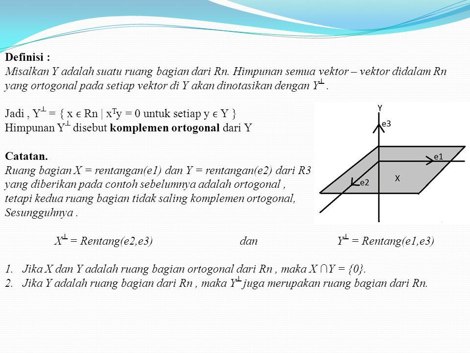 Ruang bagian ortogonal Misalkan A adalah matriks m x n dan misalkan x N(A). Karena Ax = 0, kita dapatkan ai1.x1 + ai2.x2 + … + ain.xn = 0 untuk setiap