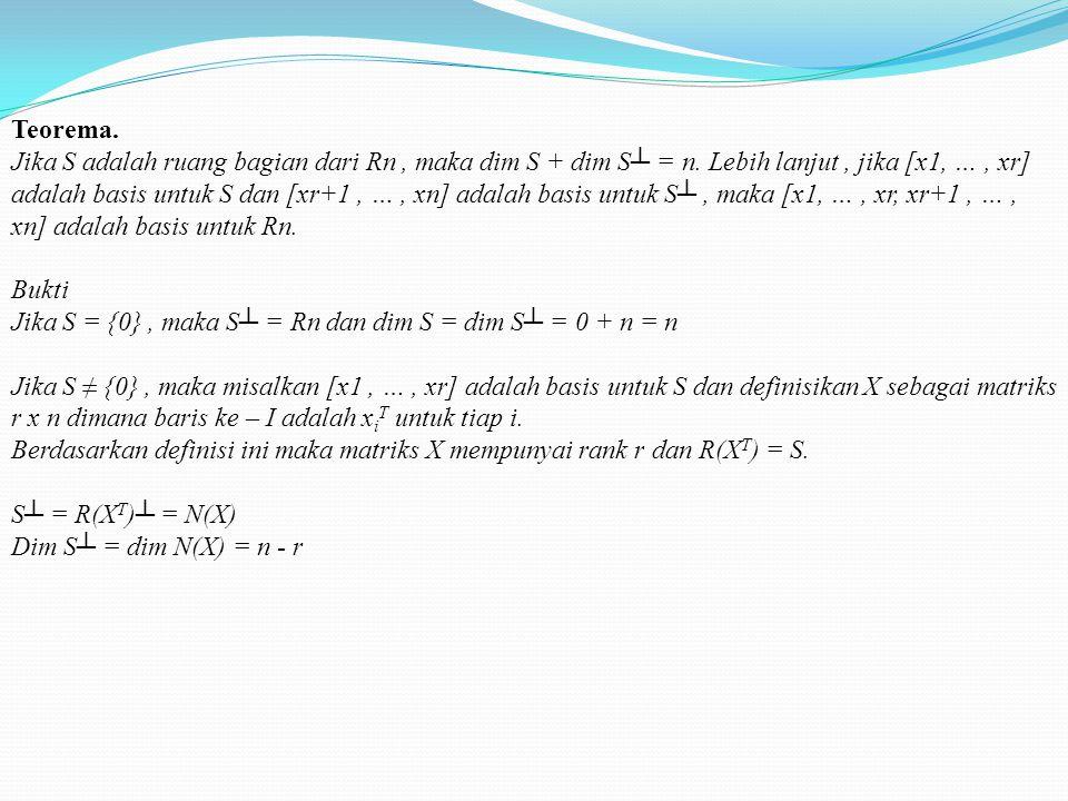 Contoh. Misalkan A = Ruang kolom dari A terdiri dari semua vektor dalam bentuk Perhatikan bahwa, jika x adalah sembarang vektor di Rn dan b = Ax, maka