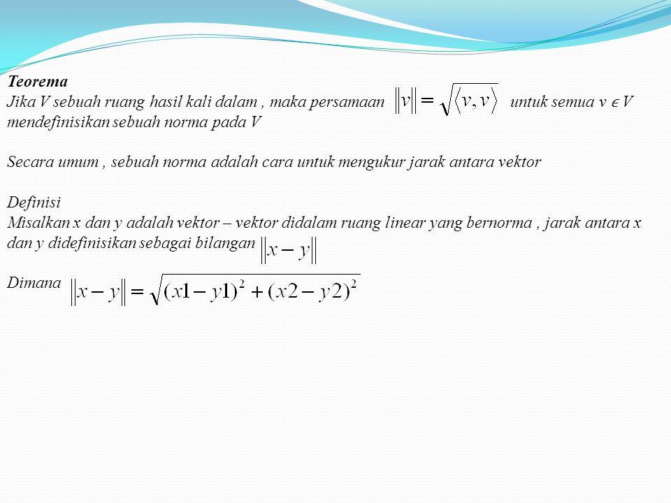 Teorema (Hukum phytagoras) jika u dan v adalah vektor – vektor ortogonal didalam sebuah ruang hasil kali dalam V, maka Definisi Jika u dan v adalah ve