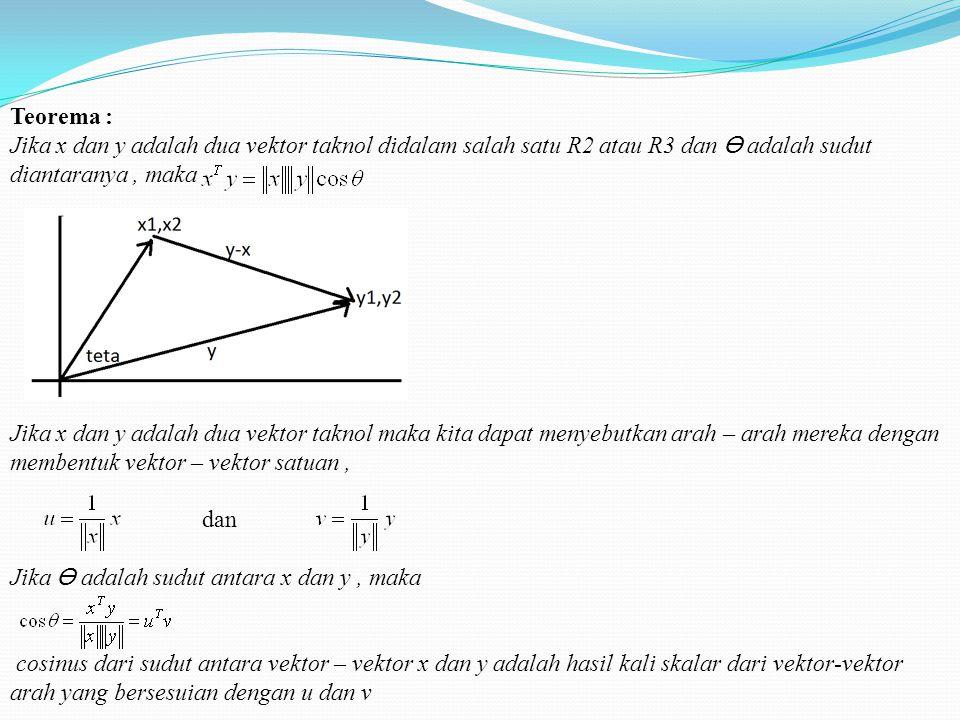 Teorema : Jika x dan y adalah dua vektor taknol didalam salah satu R2 atau R3 dan adalah sudut diantaranya, maka Jika x dan y adalah dua vektor taknol maka kita dapat menyebutkan arah – arah mereka dengan membentuk vektor – vektor satuan, dan Jika adalah sudut antara x dan y, maka cosinus dari sudut antara vektor – vektor x dan y adalah hasil kali skalar dari vektor-vektor arah yang bersesuian dengan u dan v