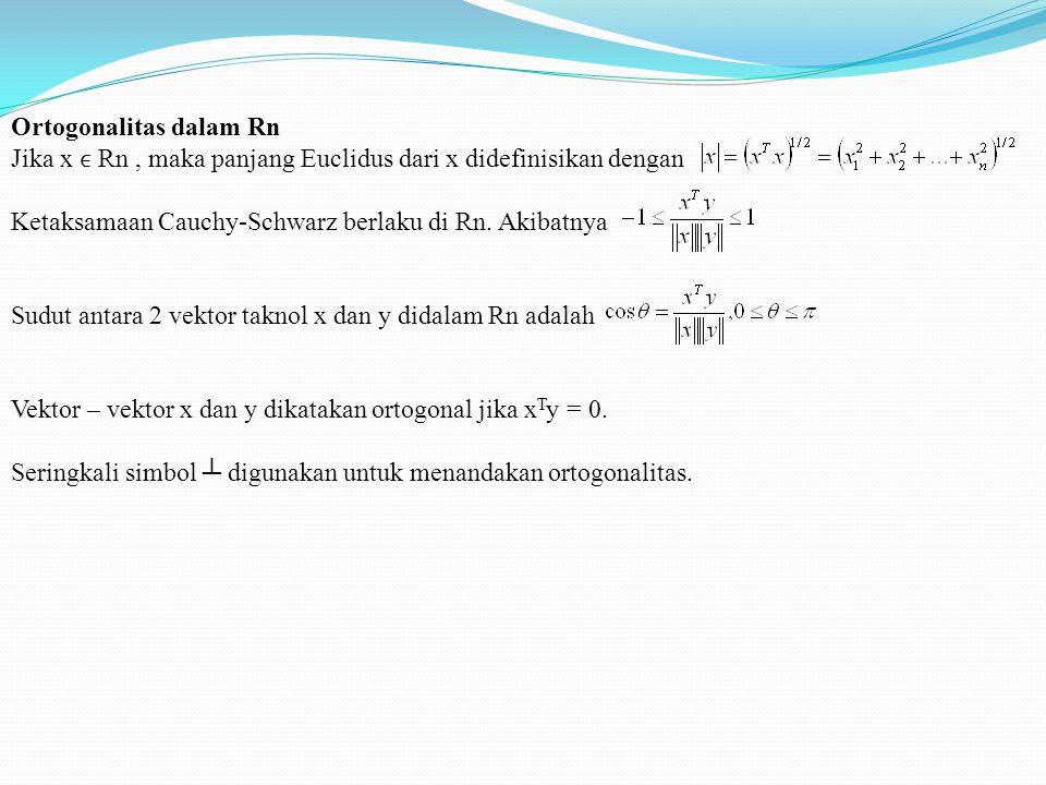 Ortogonalitas dalam Rn Jika x Rn, maka panjang Euclidus dari x didefinisikan dengan Ketaksamaan Cauchy-Schwarz berlaku di Rn.