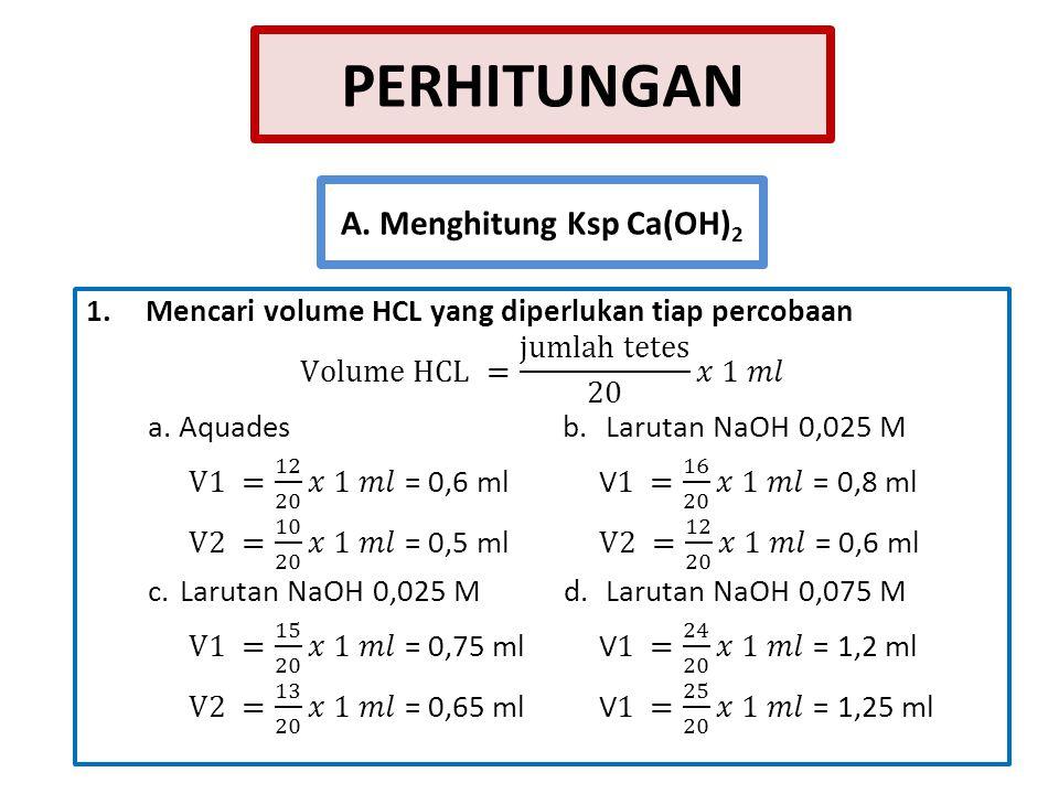 PEMBAHASAN Ca(OH) 2 merupakan basa sukar larut dalam air.