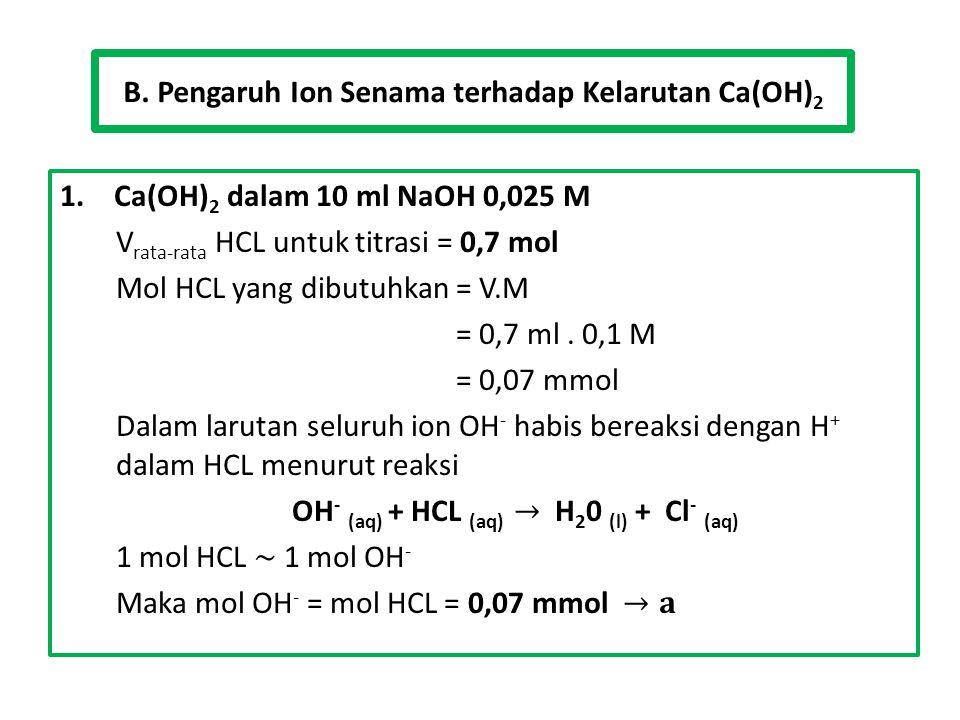 B. Pengaruh Ion Senama terhadap Kelarutan Ca(OH) 2