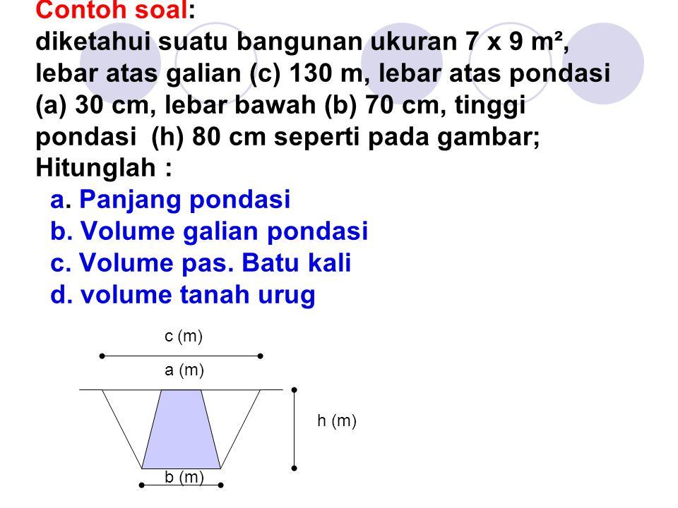 Contoh soal: diketahui suatu bangunan ukuran 7 x 9 m², lebar atas galian (c) 130 m, lebar atas pondasi (a) 30 cm, lebar bawah (b) 70 cm, tinggi pondas